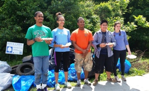 Wilson High School students celebrate a successful clean-up