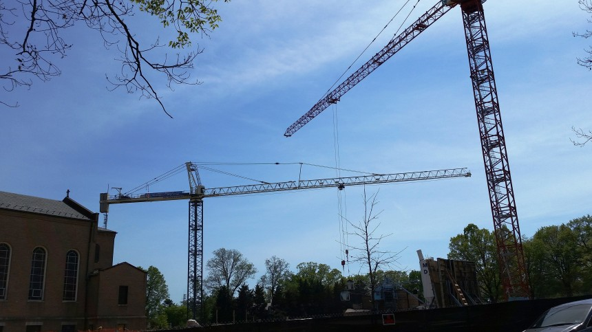 Two Cranes at Tenley Campus May 2014