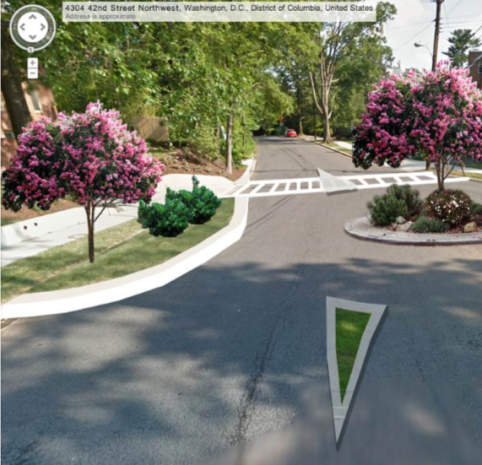 Conceptual rendering of permanent circles by ANC 3E. The tree in the circle will likely be replaced by shorter plantings.