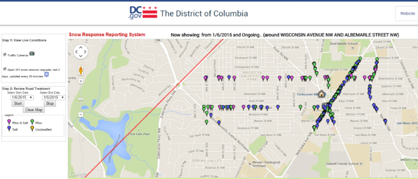 Map of DC Snow Response in Tenleytown area as of 9:15 a.m.
