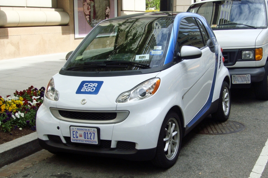 Car2Go Smart fortwo carsharing at downtown Washington, D.C.
