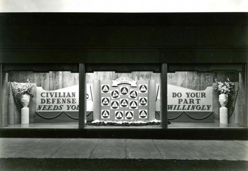 World War II era window display at substation