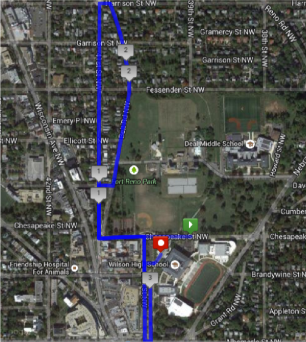Tenley Tiger Run Race Route