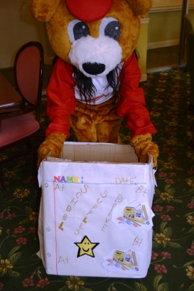 Look for this box - and bear - in the lobby.
