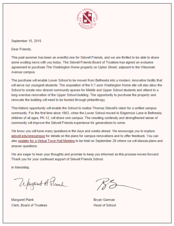 Sidwell letter